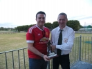John O\'Grady receiving his award for 200 appearances from John Cronin