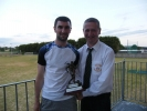 Niall Cahill receiving his award for 200 appearances from John Cronin