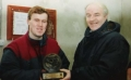 John Clancy receives his award from chairman Moss MacAuliffe on his entry into the '200' club. Photo taken on 10th January 1993.