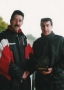 Pa O'Shea receives his award from club chairman Benjy Kelly on entry into the '200' club. Photo taken on 16th April 2000.