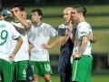 Irish manager Paul Doolin consoles Anthony after exit to Spain