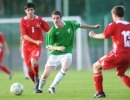 Anthony in action against Brandon Davies (left) and Aaron Phillips in the Under 16 International Friendly against Wales at Whitehall, Dublin on August 28th 2008