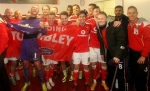 Anthony Forde and Walsall team celebrate reaching Wembley