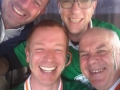 Micky, Paul, Shane and James on (Air)Bus to game.