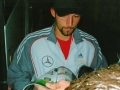 German striker Kevin Kuranyi signs autographs.
