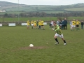 John Cronin scores his penalty in the Over 35's v Past Player XI charity game on St. Stephen's Day 2005.