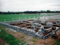 The block work begins on the foundations. Picture taken 4th June 1998.