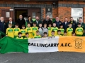 John Delaney, CEO, FAI, with officials and young players from Ballingarry AFC, during the FAI Club Mark Presentation at Ballingarry AFC, Limerick