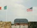 The flags of Ireland and the U.S. fly over the entrance to the Ballingarry grounds.
