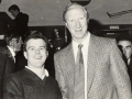 Club Secretary James Clancy meets Republic of Ireland manager Jack Charlton.