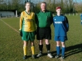 The team captains pictured with the match referee prior to kick-off