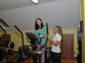 Kathy Molloy tries out a stepper with Helena Clancy in attendance