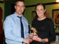 Premier League top scorer Joanne O'Gorman of Ballingarry receiving her trophy from Rob White