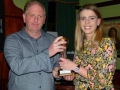 Fiona Hickey receiving her Player of the League Cup Final award