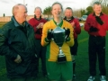 Ballingarry AFC Ladies Captain Rachel Hickey receives the cup from Mattie Histon.