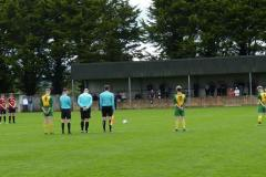 Players from both sides and officials observe a minutes silence for Ballingarrys Moss McAuliffe