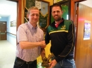 Kristian Doyle receives 50 goal award from Club President John Cronin