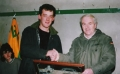 Shane Hartnett receives his award from Club President Moss MacAuliffe on scoring 100 competitive goals for the club. He was the first player to do so for Ballingarry AFC.