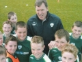 The Under 12s make a wall for the 'keeper' Packie Bonner.