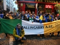 The flag with Bosnian Guinness drinkers in Temple Bar before Euro 2016 playoff 16/11/15