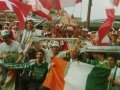 Not THE Flag but a flag with Danish fans in Cologne fans during Euro 88