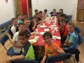 The U12 Division 2 winners enjoy their meal at The Delta Adventure Centre