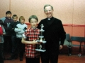 Eoin Kennedy having received his Under 10 player of the year award for 1992/93, pictured with Fr. Joe Cussen.