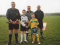 Ballingarry AFC captain Dean Clancy exchanges penants with his Newcastlewest counterpart