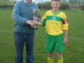 Captain Nathan Clancy receives cup from Eddie Shaughnessy L.D.S.L. Secretary