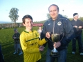 Captain Mike Molloy accepts trophy from LDSLs Trevor Moroney