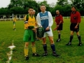 Ballingarry captain Patrick O'Keeffe presents Abbeyfeale captain Denis Behan with pennant before the Under 16 cup final 2000/01.