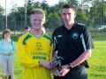 Shane O'Doherty receives his Man of the Match award from LDSL fixtures secretary Tom Ambrose.