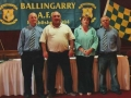 Chairperson Pascal Moynihan and secretary James Clancy with guests of honour Margaret Stokes of the LDSL and George Quinlivan formerly of Limerick United and Galway United.