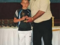 Under 9B Player of the Year 2007/08 Aaron  Smith receives his award.