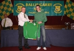 Republic of Ireland Under 16 International Anthony Forde presenting one of his Ireland  jerseys to John Clancy.