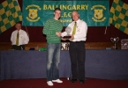 Under 16 Republic of Ireland international Anthony Forde receiving his award from club Chairperson Pascal Moynihan