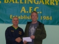 Paul Molloy, winner of tickets to Ireland vs Russia at Aviva Stadium on the 8th October 2010. Presented to him by James Clancy