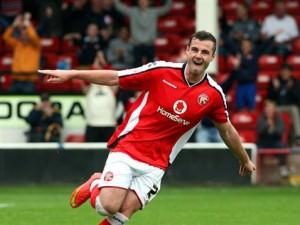 Anthony Forde celebrates first goal for Walsall